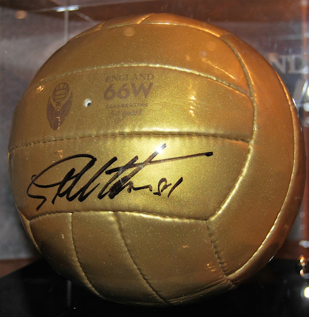 Golden football in the Bobby Moore lounge at Royal Garden Hotel, photo by Modern Bric a Brac