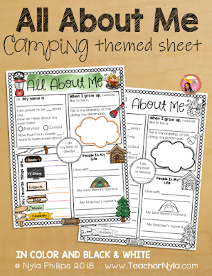 Camping Themed All About Me Writing Sheet