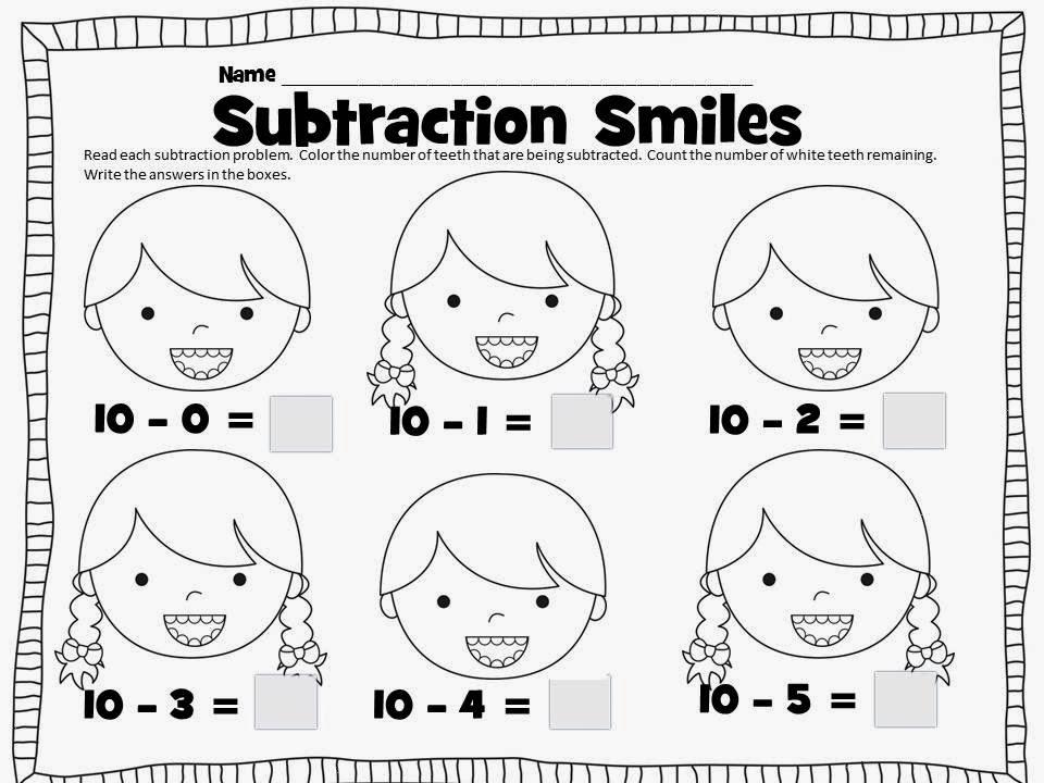 Mrs. Ehle's Kindergarten Connections: Subtraction Smiles!