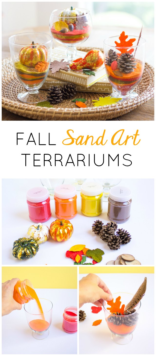 Make these pretty fall terrariums with colored sand and nature finds!