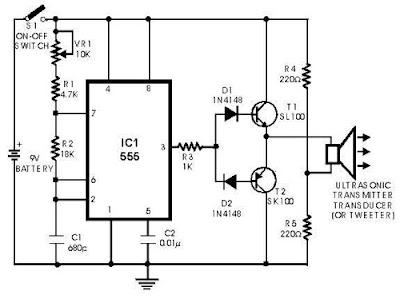 Gambar Rangkaian Sensor Ultrasonik - Transmitter