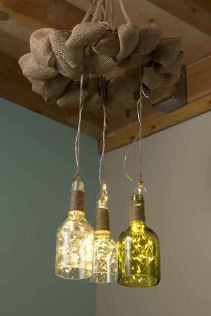 Reclaimed Bottle Firefly Chandelier @craftsavy, #Kinkajou, #bottlecutter, #craftwarehouse