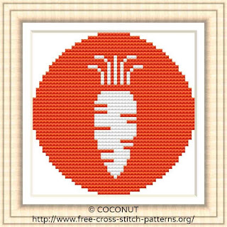 CARROT VEGETABLE ICON, FREE AND EASY PRINTABLE CROSS STITCH PATTERN