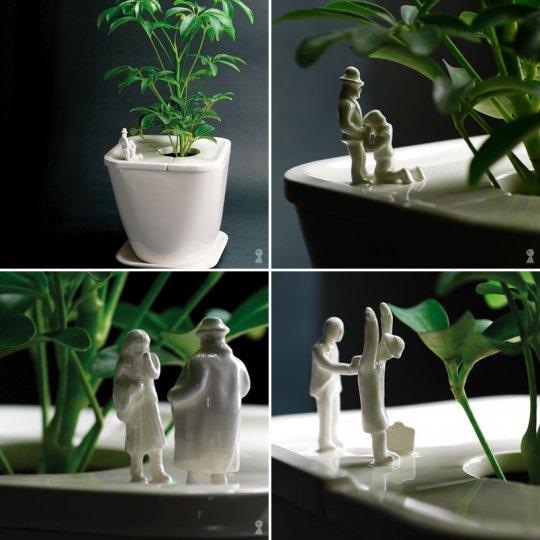 Estatuas de porcelana en jardines