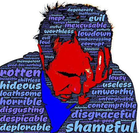 graphic that is a silhouette of an older man with his head in his hands, over which are words like 'shame, disgraceful, worthless, deplorable...'