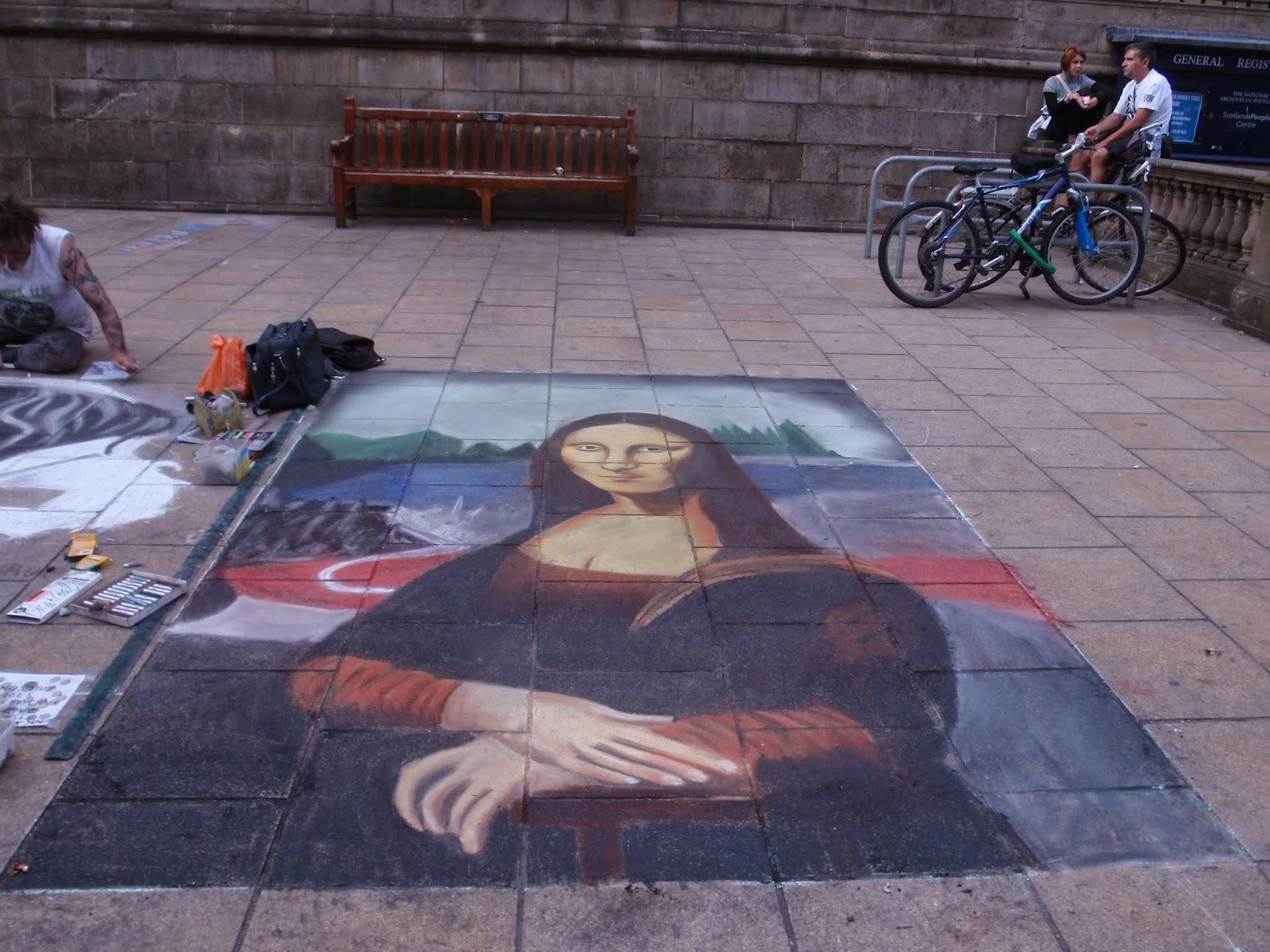 Chalk art of the Mona Lisa