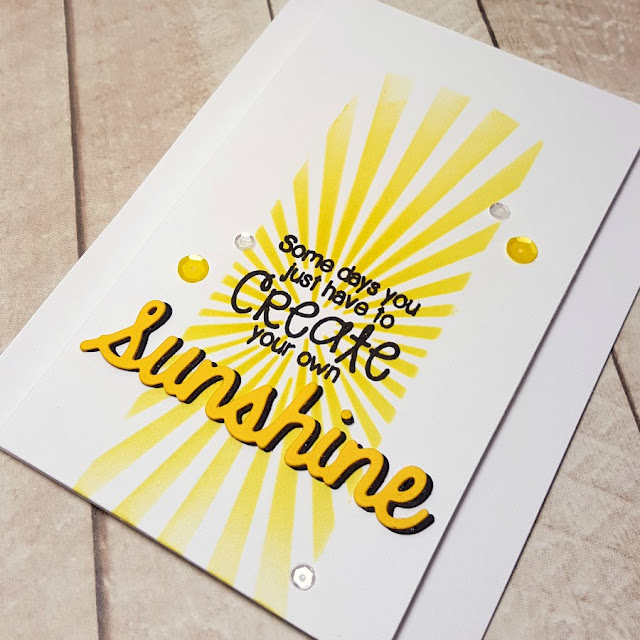 Sunny Studio: Create Your Own Sunshine Sunburst Card by Heidi Criswell (using Sunny Sentiments stamps and Sunshine Word die).