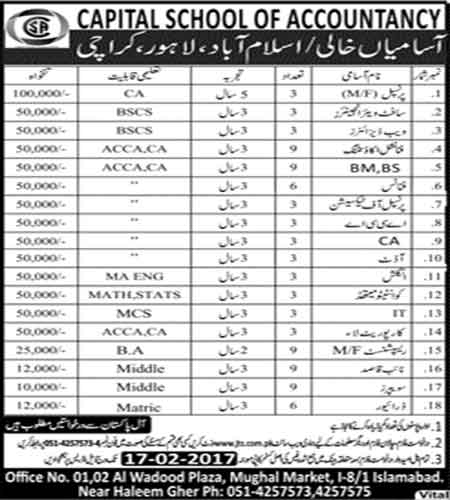 90+ Jobs In Capital School of Accountancy Islamabad, Lahore & Karachi