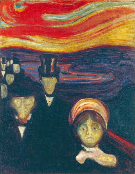 Edvard Munch, Anxiety, Macabre Art, Macabre Paintings, Horror Paintings, Freak Art, Freak Paintings, Horror Picture, Terror Pictures