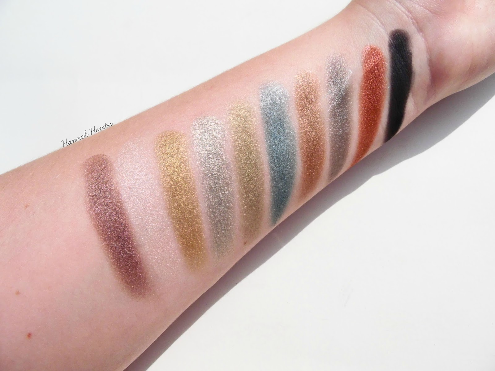 Zoeva Mixed Metals Palette Swatches