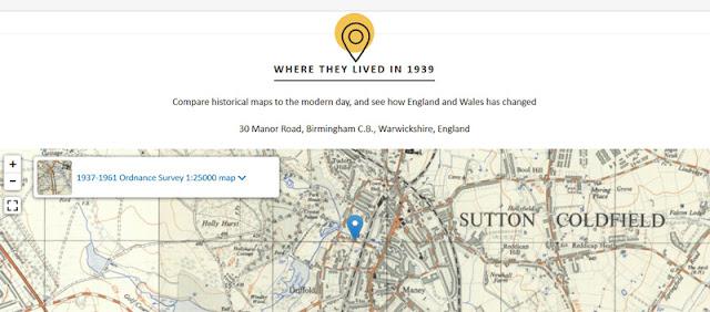 1939 Regsiter location map for 30 Manor Road, Birmingham