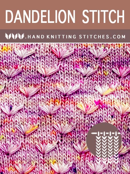 Hand Knitting Stitches - Dandelion Flower Pattern