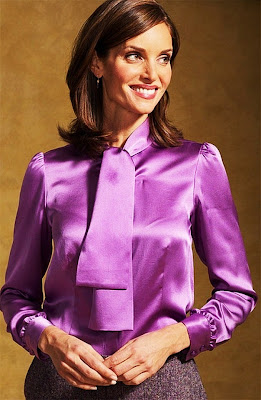 Purple Silk Satin Blouse