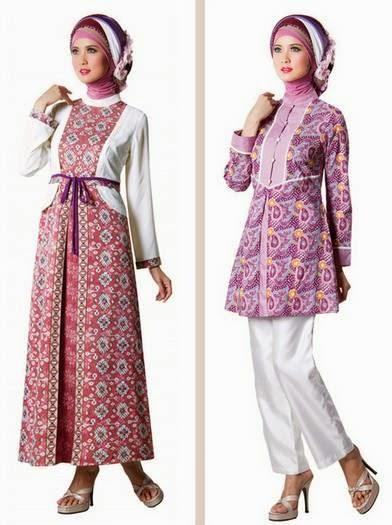 Model baju muslim gamis brokat kombinasi batik