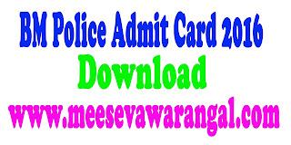 BM Police Admit Card 2017