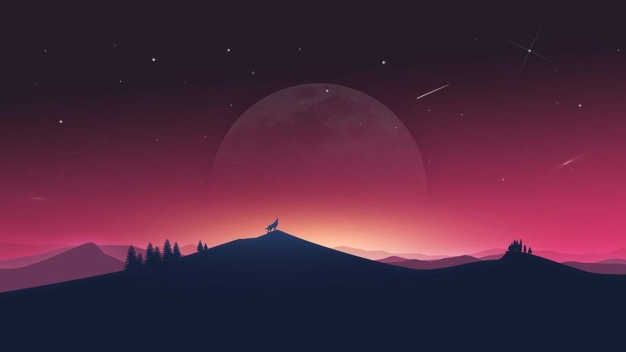Wolf, Howling, Minimalist, Digital Art, Moon, Night, Landscape, 4K, #61