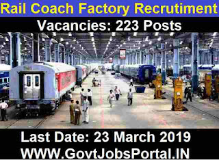 Rail Coach Factory Recruitment 2019