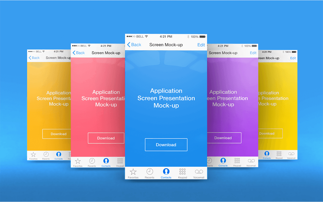 App Screen Presentation Mock-ups PSD