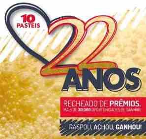 Promoção Dez Pastéis 22 Anos Aniversário 2018 Raspadinha