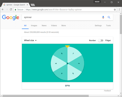 Play Virtual Fidget Spinner Simulation Game in Google Search