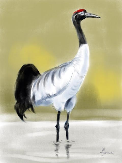 Black-necked Crane bird painting by Artmagenta