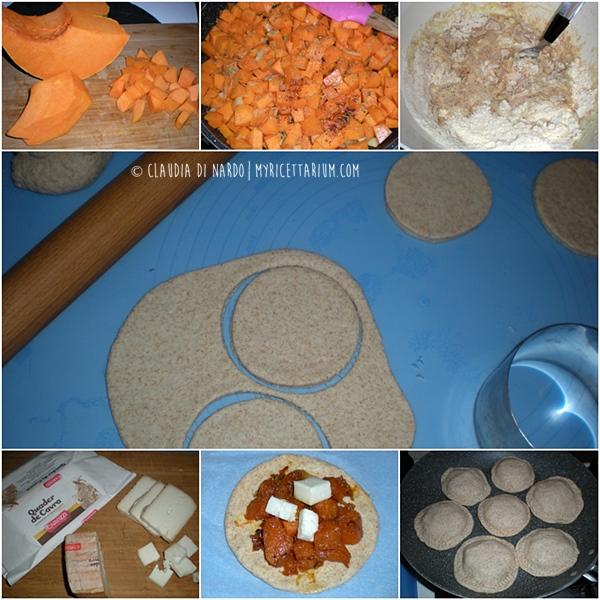 Focaccine in padella ripiene di zucca e formaggio