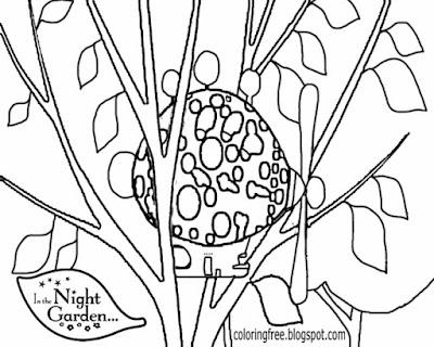 Pinky Ponk airship printable coloring in the night garden cute beginner easy drawings for kids magic