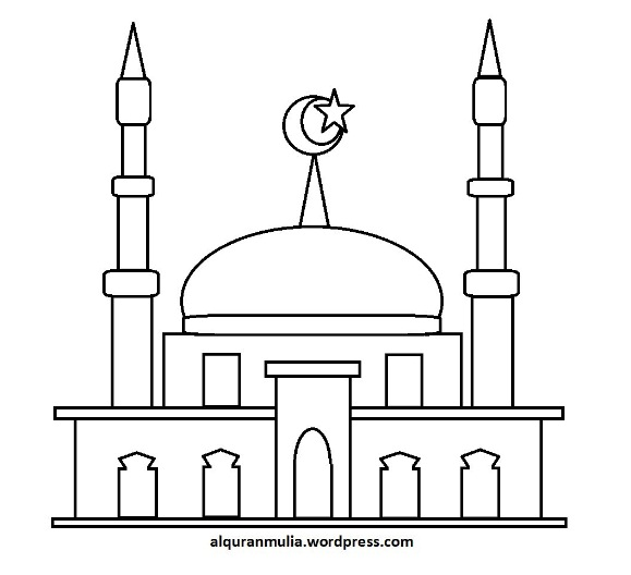 Contoh Gambar Mewarnai Masjid Warnai Gambar