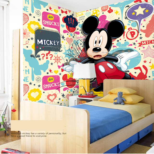 Minnie and mickey mouse wall mural 3D photo wallpaper cartoon murals for kids children bedroom