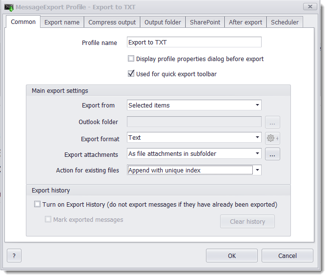 MessageExport add-in for MS Outlook allows for customization of the email-to-text export profile.