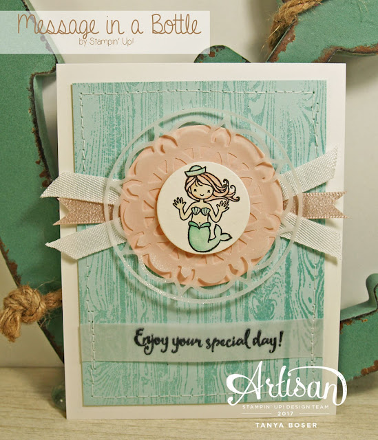 Tinkerin-In-Ink with Tanya featuring Message in a Bottle stamp set from Stampin' Up!  with Hardwood background stamp and Happy Birthday Gorgeous stamp set. For the love of mermaids! Heat embossed background and watercolored mermaid with Eastern Medallion thinlits. Clickable supply list and a video tutorial on blog post