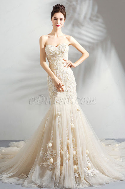 Light Champagne Floral Party Wedding Dress