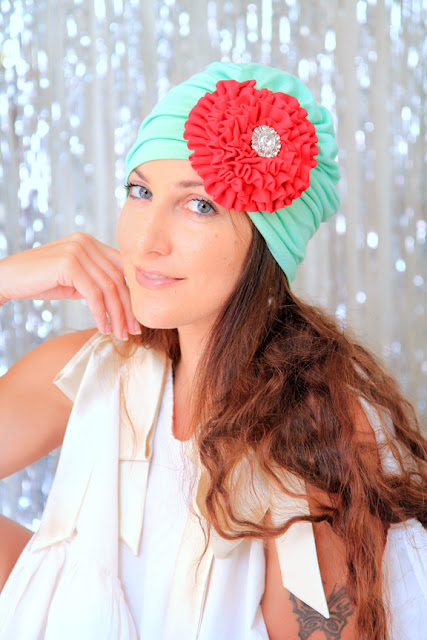 Tropical Christmas Turban in Mint Green and Red by Mademoiselle Mermaid.