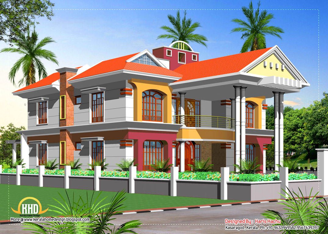 Front Elevation Of Three Storied Houses : Double story house elevation indian home decor