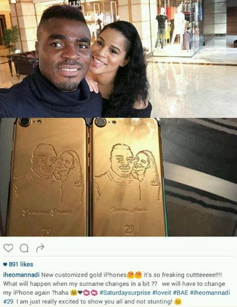 Emenike buys lover Iheoma Nnadi gold iPhone