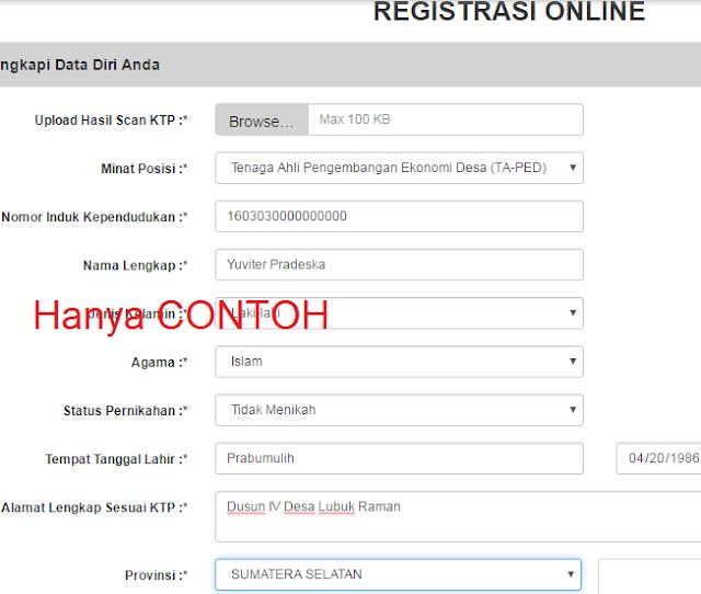 gambar cara daftar online pendamping Desa 2016