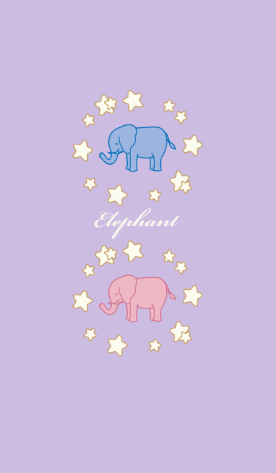 Romantic starry sky with elephants