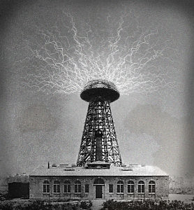 nicola tesla wireless electricity, transmitter, city, power, time, future
