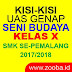 Kisi-Kisi UAS Genap Seni Budaya Kelas X SMK 2017/2018
