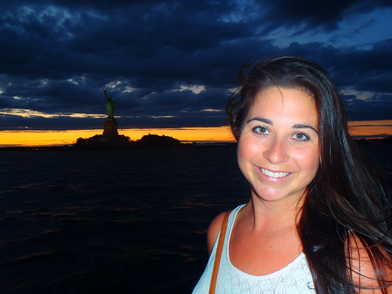 Girl with Statue of Liberty and Hudson River