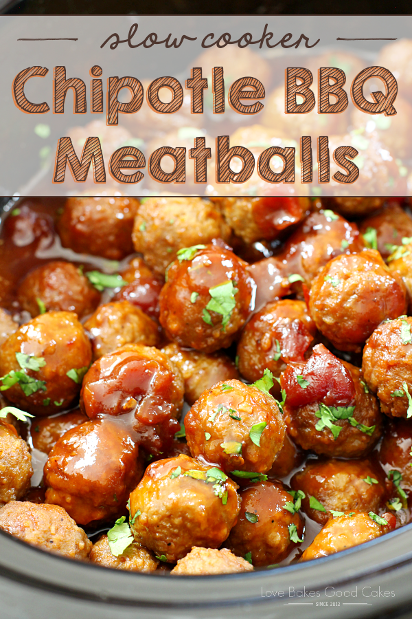 Slow Cooker Chipotle BBQ Meatballs - A bag of frozen meatballs gets kicked up a notch (or three!) with the addition of cherry preserves, bottled barbecue sauce, and chipotle peppers. It makes an easy, 5-ingredient appetizer or dinner idea!