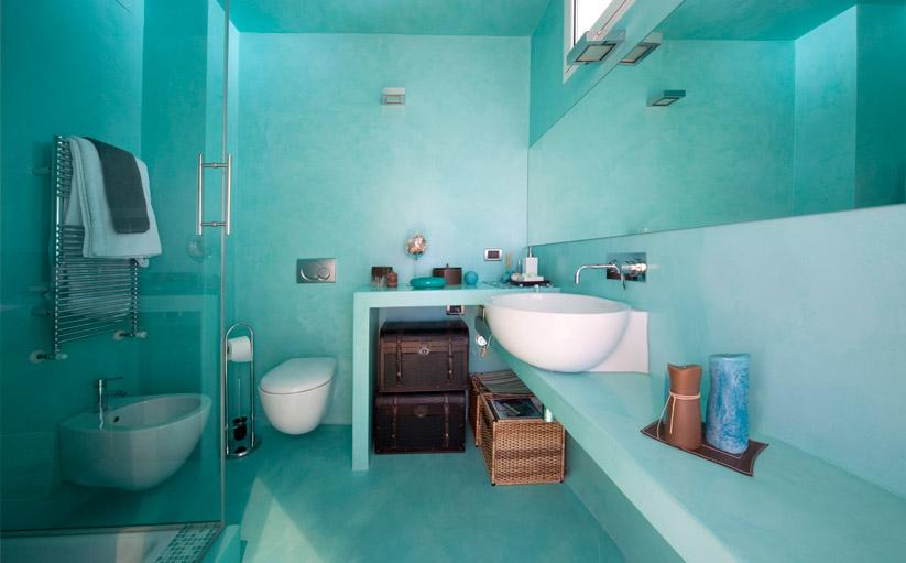 pavimento rivestimento resina bagno blu