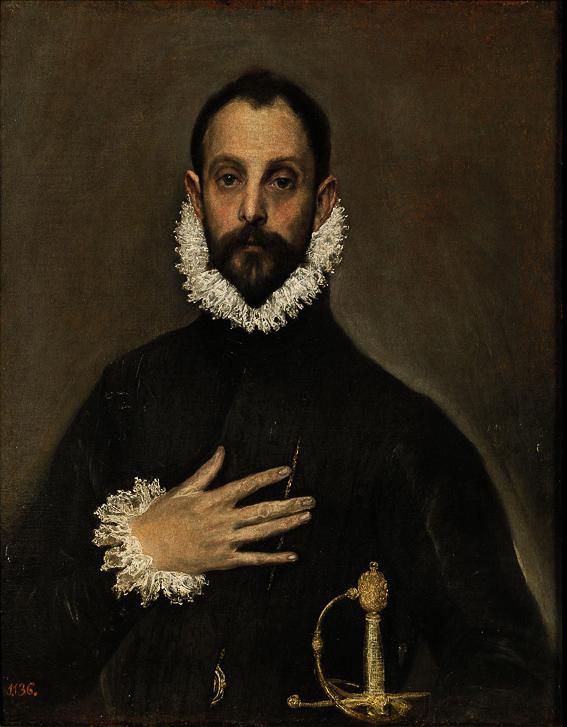 Caballero mano pecho Greco Museo Prado