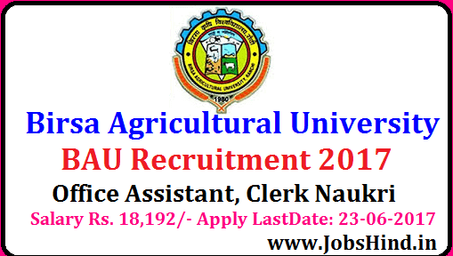 Birsa Agricultural University Recruitment 2017