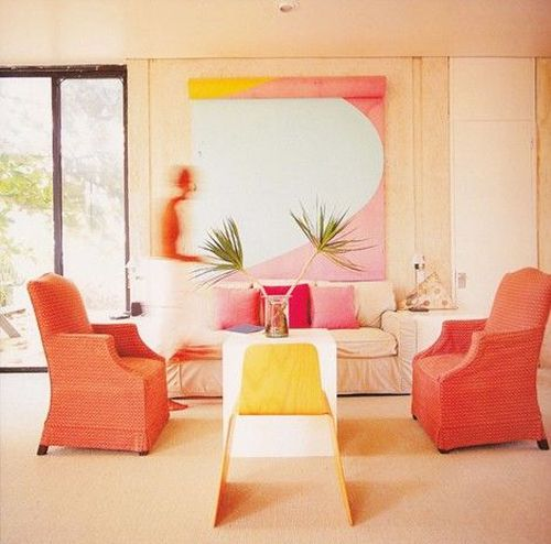 pink, orange and yellow living room
