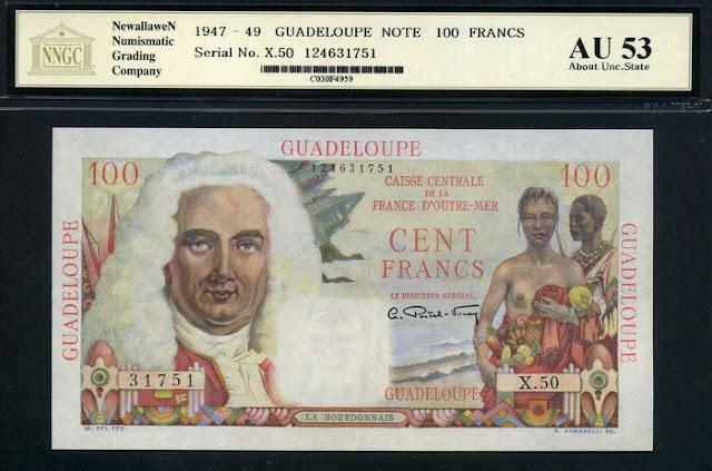 Guadeloupe banknotes 100 Francs money currency Guadeloupe Franc Bourdonnais