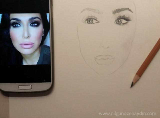 www.nilgunozenaydin-karakalem çalışması-huda kattan-huda beauty-drawing