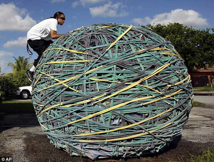The world's Largest Rubber band Ball