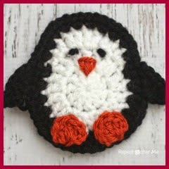 APLIQUE PINGUINO A CROCHET