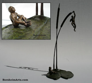 The Unwritten Future Bronze Sculpture Art Uncertainly of Man Vulnerability Precarious